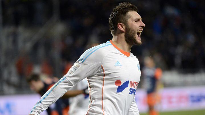 La joie d'André-Pierre Gignac, attaquant de l'OM, après son but marqué contre Montpellier, le 19 janvier 2013. (ANNE-CHRISTINE POUJOULAT / AFP)