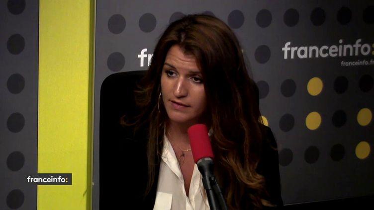 La secrétaire d'Etat chargée de l'égalité entre les femmes et les hommesMarlène Schiappa dans le studio de franceinfo, le 2 mai 2018. (FRANCEINFO / RADIOFRANCE)