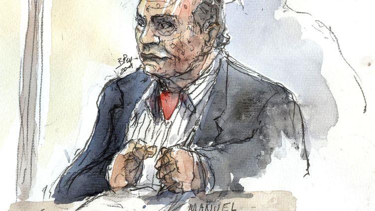Un dessin du général Manuel Noriega, fait le 23 novembre 2011 au palais de justice de Paris. (BENOIT PEYRUCQ / AFP) (FTVi / REUTERS)