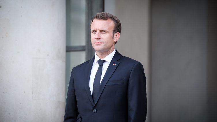Emmanuel Macron à l'Elysée, le 17 avril 2018. (MAXPPP)