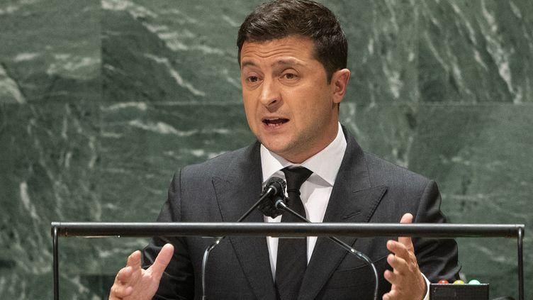 Le président ukrainienVolodymyr Zelensky au siège de l'ONU à New York (Etats-Unis), le 22 septembre 2021. (EDUARDO MUNOZ / AFP)