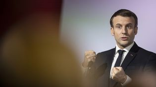 Emmanuel Macron, mardi 18 février 2020 à Mulhouse (Haut-Rhin). (JEAN-FRANCOIS BADIAS / POOL / AFP)