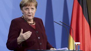 Angela Merkel, le 19 mars 2021 lors d'une conférence de presse à Berlin. (DPA / PICTURE ALLIANCE / AFP)