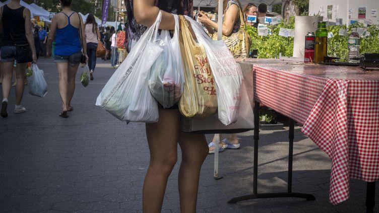 21 aout 2013. une femme qui fait ses courses avec des sacs plastiques (RICHARD B. LEVINE / NEWSCOM / SIPA )