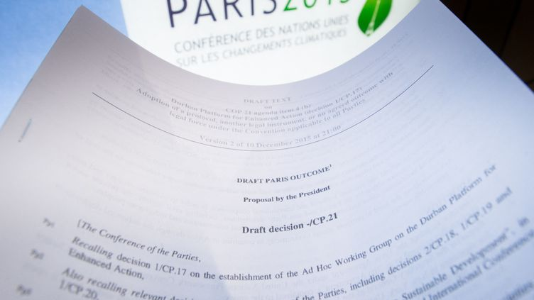 Le logo de la COP21 et un extrait du projet de résultat de la conférence, à Paris, le 10 décembre 2015. Photo d'illustration. (BENOIT DOPPAGNE / BELGA / AFP)