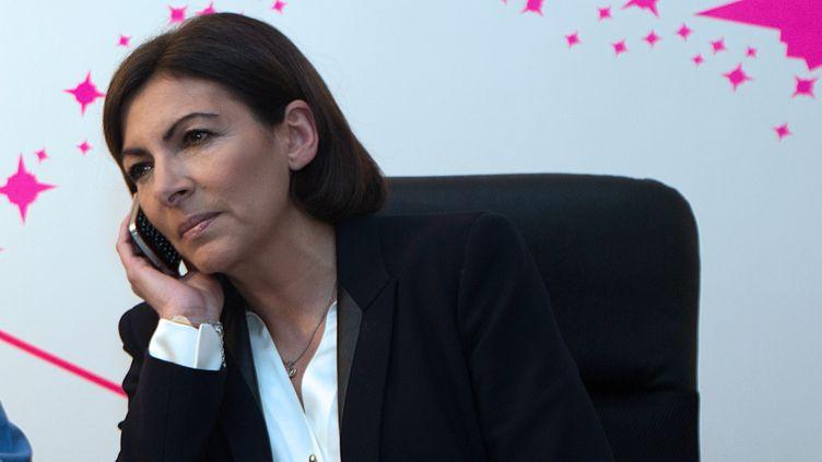 La candidate socialiste à la mairie de Paris Anne Hidalgo, le soir du premier tour des élections municipales, le 23 mars 2014, dans son QG de campagne à Paris. (JOEL SAGET / AFP)