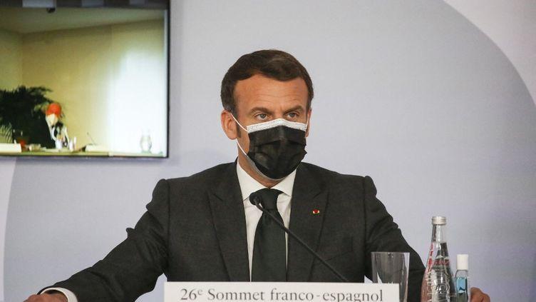 Emmanuel Macron, lors du sommet franco-espagnol à Montauban (Tarn-et-Garonne), le 15 mars 2021. (FRED SCHEIBER / POOL / AFP)