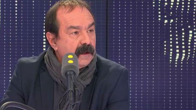 Philippe Martinez, secrétaire général de la CGT, le 28 novembre 2018 sur franceinfo. (FRANCEINFO / RADIOFRANCE)