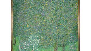 """Détail de """"Rosiers sous les arbres"""", peint vers 1905 par Gustav Klimt (1862-1918) Toile H.110 ; L.110 cm. (RMN-GRAND PALAIS (MUSEE D'ORSAY / PATRICE SCHMIDT)"""