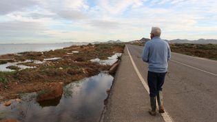 Ramon Pagan, au bord de la Mar Menor, en Espagne, le 25 novembre 2019. (ROBIN PRUDENT / FRANCEINFO)