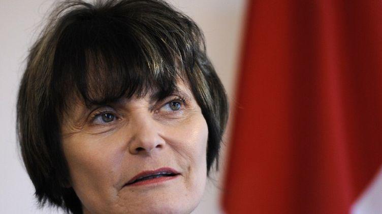 La présidente suisse Micheline Calmy-Rey, à Kehrsatz, près de Bern (Suisse), le 3 mai 2011. (FABRICE COFFRINI / AFP)