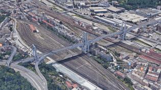 Vue satellite du viaduc de Gênes (Italie),dont une partie s'est effondrée mardi 14 août 2018. (GOOGLE EARTH)