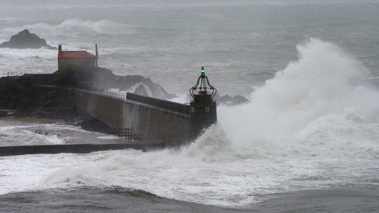 Le phare de Collioure (Pyrénées-Orientales) sous les vagues le 21 janvier 2020. (RAYMOND ROIG / AFP)
