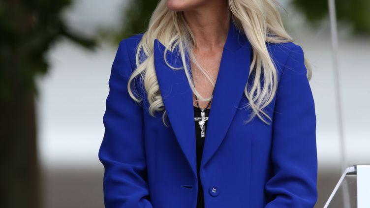 Laeticia Hallyday, la veuve du chanteur lors de l'inauguration de l'esplanade qui porte son nom à Toulouse, le 15 juin 2019 (ALAIN ROBERT/HAEDRICH JEAN-MARC/SIPA)