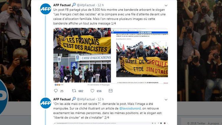 Capture d'écran du compte AfpFactuel montrant le détournant d'un slogan lors d'une manifestation. (AFP FACTUEL)