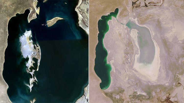 (Les images satellites de la mer d'Aral, prises par l'agence spatiale américaine. © Nasa)