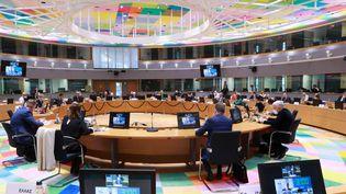 Les ministres des Affaires étrangères des pays de l'UE sont réunis par vidéoconférence pourévoquer la question israélo-palestinienne, à Bruxelles, en Belgique, le 18 mai 2021. (EU COUNCIL /  ANADOLU AGENCY / AFP)