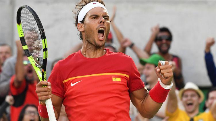 Rafael Nadal, rageur, face à Juan Martin Del Potro (LUIS ACOSTA / AFP)