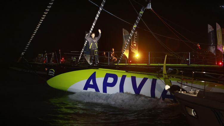 Charlie Dalin (Apivia) a coupé mercredi soir en premier la ligne d'arrivée du Vendée Globe (Pierre Bouras / DPPI via AFP) (PIERRE BOURAS / PIERRE BOURAS)