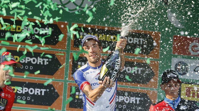 Thibaut Pinot fête sa victoire au Tour de Lombardie (YUZURU SUNADA / BELGA MAG)