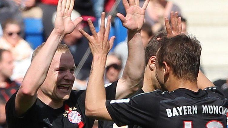Sebastian Rode (à gauche) a ouvert le score pour le Bayern Munich qui s'est imposé 2-0 à Hoffenheim. (DANIEL ROLAND / AFP)