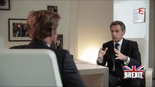 Nicolas Sarkozy face à Laurent Delahousse dans un entretien diffusé sur France 2, le 26 juin 2016. (FRANCE 2)