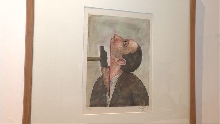 """""""La liberté d'opinion est-elle mortelle"""", affiche de Roland Topor pour Amnesty International - Musée de l'illustration jeunesse de Moulins  (S. Vinot / France Télévisions)"""