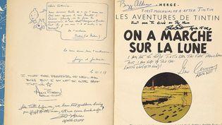 """Pages d'ouverture dédicacées de """"On a marché sur la Lune"""" d''Hergé  (EFE/Newscom/MaxPPP)"""