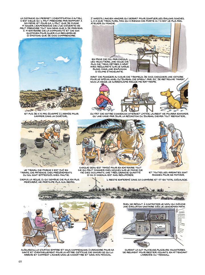 """""""L'histoire a été compliquée à écrire"""", explique l'auteur de la BD... Planche extraite de la bande dessinée """"Les Esclaves oubliés de Tromelin"""" par Savoia. (© DUPUIS 2019)"""
