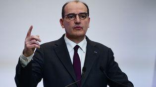Le Premier ministre Jean Castex prononce une allocution télévisée, le 4 février 2021, à Paris. (MARTIN BUREAU / AFP)