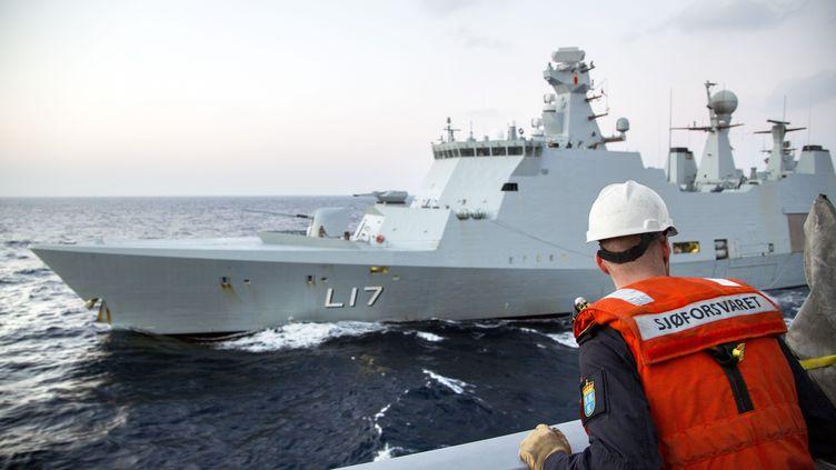 Un membre des forces navales norvégiennes,dimanche 5 janvier 2014, face au navire de soutien danois qui doit escorter le transport des agents chimiques hors de la Syrie pour leur destruction. (LARS MAGNE HOVTUN / NORWEGIAN ARMED FORCES / AFP)