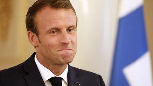Le président français Emmanuel Macron à Helsinki (Finlande), le 30 août 2018. (LUDOVIC MARIN / AFP)