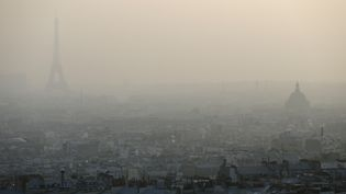 Paris, dans un nuage de particules fines, au moment du pic de pollution, le 11 mars 2014. (PATRICK KOVARIK / AFP)