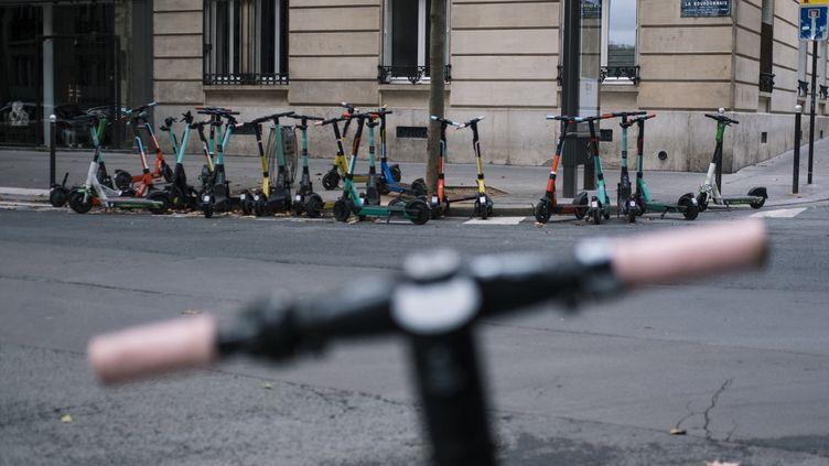 Des trottinettes électriques à Paris. (JEANNE FOURNEAU / HANS LUCAS / AFP)