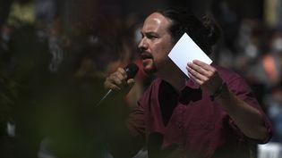 Pablo Iglesais, chef de file de Podemos, le parti d'extrême-gauche, candidat à l'élection régionale à Madrid (Espagne), le 18 avril 2021. (PIERRE-PHILIPPE MARCOU / AFP)