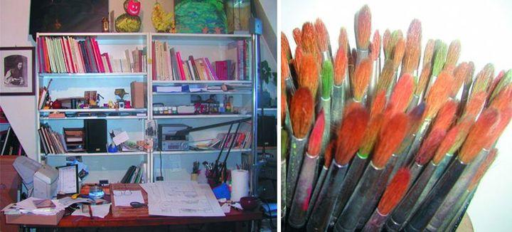 L'atelier et les pinceaux de Claude Ponti  (Christelle Renault / L'école des loisirs)