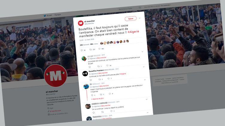 Le tweet d'El Manchar, site algériend'informations fausses et saugrenues, concernant le retrait de la candidature d'Abdelaziz Bouteflika à la prochaine élection présidentielle. (CAPTURE D'ECRAN TWITTER)
