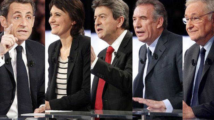 Nicolas Sarkozy, Nathalie Arthaud, Jean-Luc Mélenchon, François Bayrou et Jacques Cheminade, invités de l'émission politique de France 2, le 12 avril 2012. (AFP / MONTAGE FTVI )