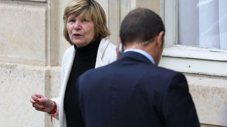 """La patronne de l'agence Bestimage, """"Mimi"""" Marchand, dans la cour de l'Elysée, à Paris, le 15 novembre 2017. (LUDOVIC MARIN / AFP)"""