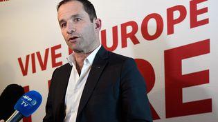 Benoît Hamon, tête de liste du parti Génération.s aux élections européennes, lors d'un meeting de présentation de ses candidats, le 3 avril 2019 à Paris. (BERTRAND GUAY / AFP)