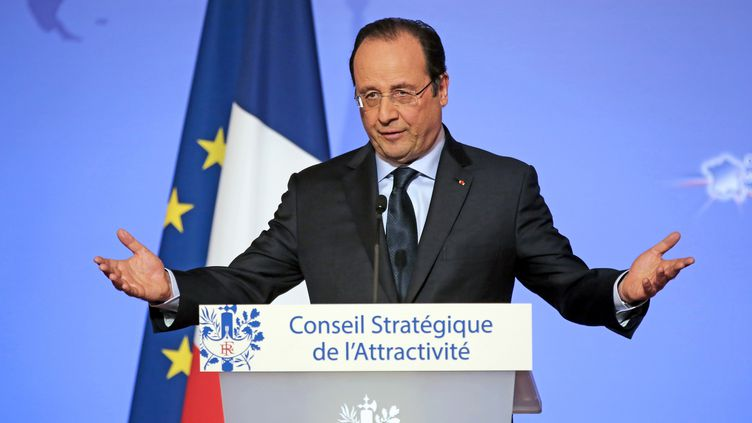 François Hollande a reçu34 chefs d'entreprises internationales à l'Elysée, lundi 17 février 2014, afin de réfléchir à des mesures pour relancer les investissements étrangers en France. ( AFP )