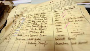 Un des 3 600 documentsretrouvés dans l'appartement de Brigitte Berdefy et de son mari Gabor, photographié aux archives municipales de Budapest (Hongrie) le 12 novembre 2015. (ATTILA KISBENEDEK)