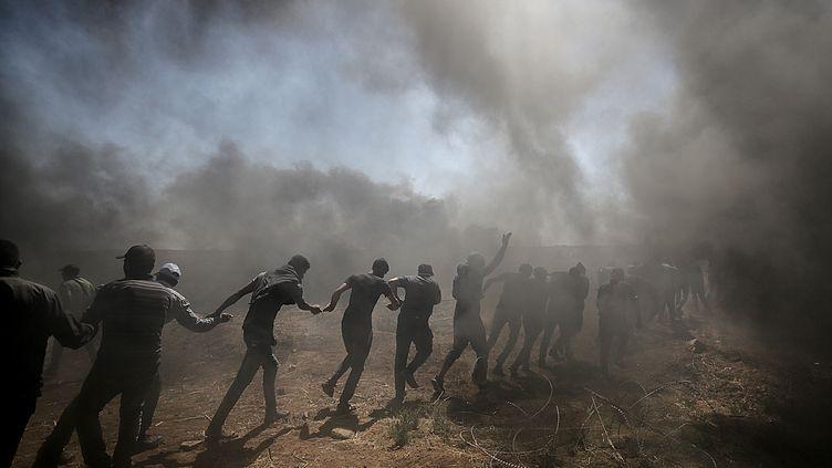 Manifestation des Palestiniens le lundi 14 mai à la frontière avec Israël. (EPA / MAXPPP)