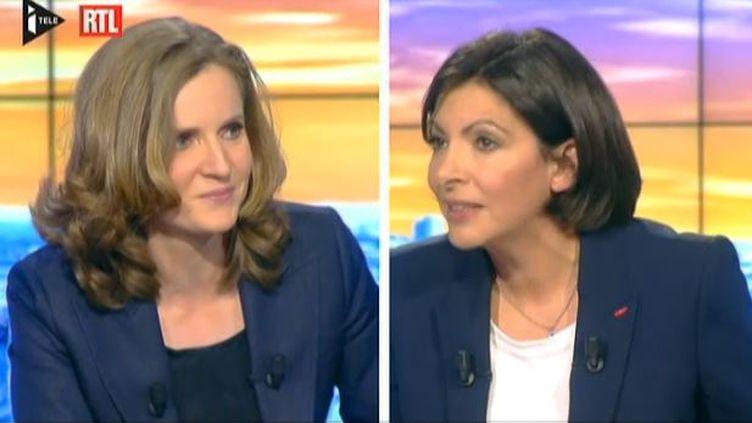 Capture d'écran - Les candidates à la mairie de Paris Anne Hidalgo (PS) et Nathalie Kosciusko-Morizet (UMP) face à face le 26 mars 2014 sur i>Télé et RTL. (ITELE ET RTL / FRANCETV INFO )