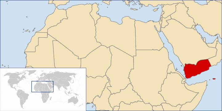 Carte du Moyen-Orient avec le Yémen représenté en rouge. (IEF / WIKIMEDIA COMMONS)
