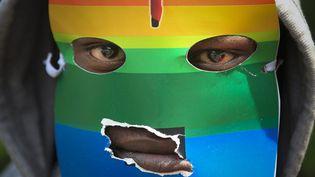 Un homme masqué manifeste devant l'ambassade de l'Ouganda à Nairobi (Kenya) pour protester contre la loi anti homosexualité promulguée par le président ougandais, le 10 février 2014. (MAXPPP)