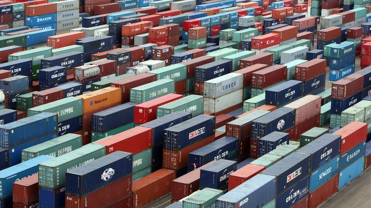 Des centaines de containers, le 12 juin 2010, dans le port du Havre (Seine-Maritime). (KENZO TRIBOUILLARD / AFP)