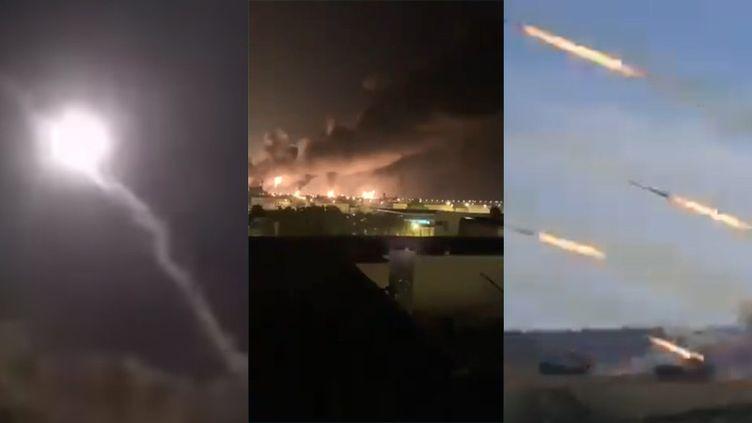 Images diffusées sur les réseaux sociaux censées montrer les frappes iraniennes sur des bases de la coalition contre Daech en Irak. (CAPTURES D'ECRAN)