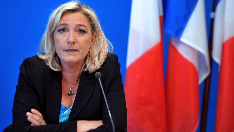 Marine Le Pen, le 26 mars 2013, à Nanterre (Hauts-de-Seine), lors d'une conférence de presse au siège de son parti, le Front national (FN). (PIERRE ANDRIEU / AFP)
