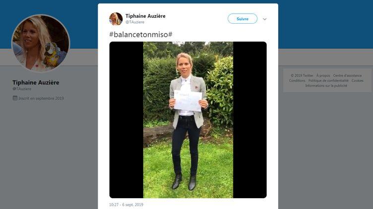 Tiphaine Auzière lance sa campagne #BalanceTonMiso via une vidéo d'elle face caméra postée sur Twitter. (CAPTURE D'ECRAN TWITTER)